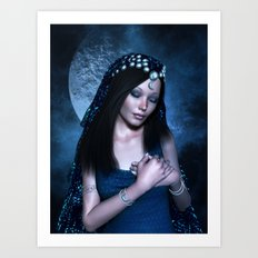 Praying Moon Goddess Art Print