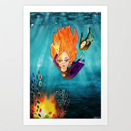 Diving Deep Art Print