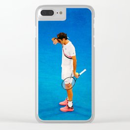 Roger Federer Thinking Tennis Clear iPhone Case