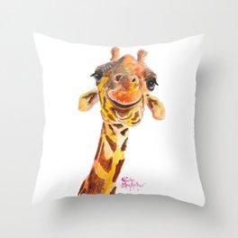 Nosey Giraffe ' Jo ' by Shirley MacArthur Throw Pillow