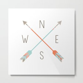 Arrow Compass Metal Print