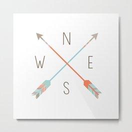 Arrow Compass Metal Print