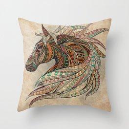 Southwest Horse Beige Grunge Throw Pillow