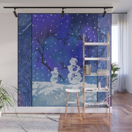 The Heart of Snowmen on a Winter Snowfall Day by annmariescreations Wall Mural