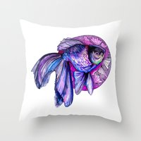 goldfish Throw Pillows featuring Goldfish by Slaveika Aladjova