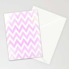Pale Pink textured Chevron Pattern Stationery Cards