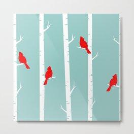 Bird Neck Gator Birch Tree Cardinals Bird Metal Print