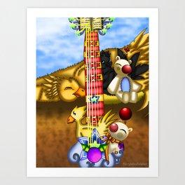 Fusion Keyblade Guitar #23 - Metal Chocobo & Mogry of Glory Art Print
