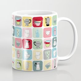 Retro Coffee Pots and Cups Pattern Coffee Mug
