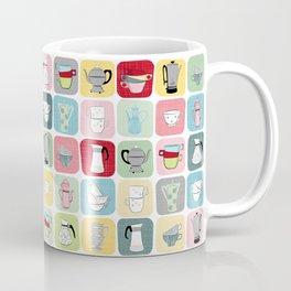 Retro Coffee Pots and Cups Pattern Coffee Mug