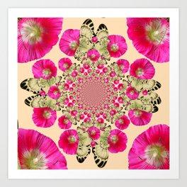 modern art cerise pink hollyhock & yellow butterflies Art Print