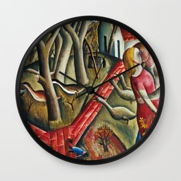 1924 Classical Masterpiece 'The Magical Garden Enclosed' portrait painting by David Jones Wall Clock