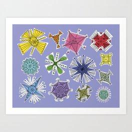 Geos Retro blue Art Print