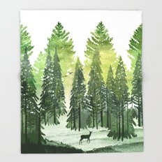 Green Forest Throw Blanket