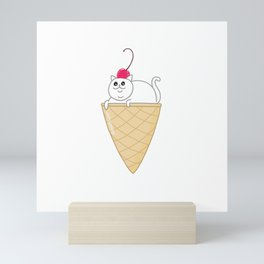 ICE CREAM CAT Mini Art Print