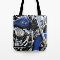 harley Tote Bags featuring Harley by Veronica Ventress