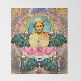 softest romantic rose queen Throw Blanket