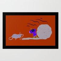 katamari Art Prints featuring Dung Roller Katamari by Hoborobo