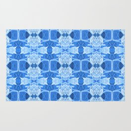 Intricate Contemporary Blue Floral Pattern Rug