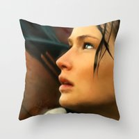 katniss Throw Pillows featuring Katniss by Kate Dunn