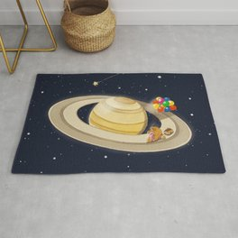 Sloth Happy Ride on Saturn Rug
