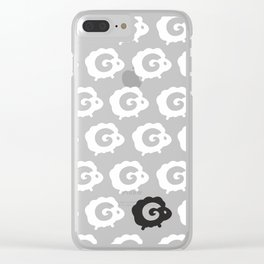 Black Sheep Pattern Clear iPhone Case