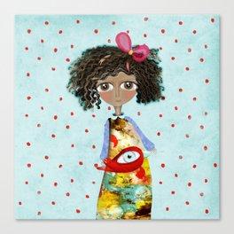 Red Bird Pet Doll Grungy Polka Dots Canvas Print