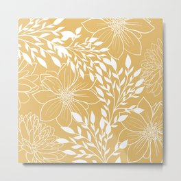 Floral Prints and Leaves, Line Art, Yellow Metal Print