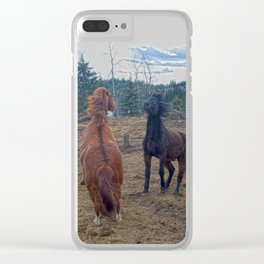 The Challenge - Ranch Horses Fighting Clear iPhone Case