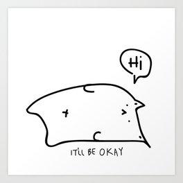 Unmotivated Doodle Cat Art Print