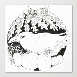 Crow with Pumpkins and Oak Canvas Print