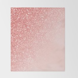 She Sparkles Deep Rose Gold Pastel Pink Luxe Geometric Throw Blanket