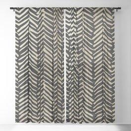 Gold and Black Herringbone Luxury Boho Striped Pattern Sheer Curtain