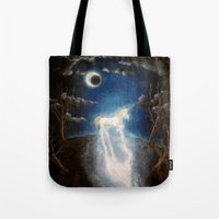 the last unicorn Tote Bags featuring Last unicorn by Zuzana Ondrejkova