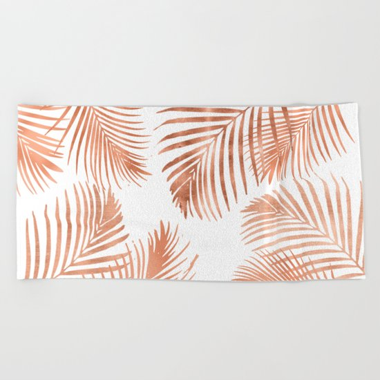 Rose Gold Palm Leaves Beach Towel