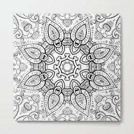 White Gray Black Paisley Mandala Metal Print