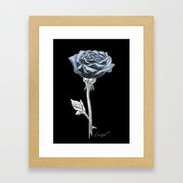 Rose 03b Botanical Flower * Blue Black Rose Framed Art Print