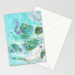 Abstract contemporary painting, aerial view of the ocean and its coral reef Stationery Cards