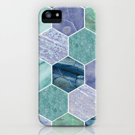 Mixed greens & blues - marble hexagons iPhone Case