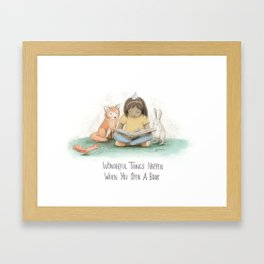 Wonderful Things Happen When you Open a Book Framed Art Print