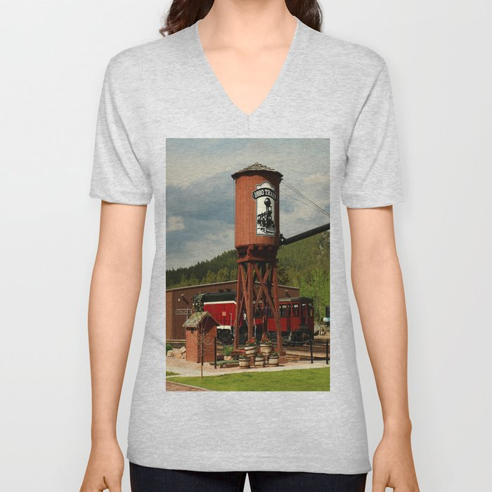 Water Tower Of The Black Hills Central Railroad Unisex V-Neck