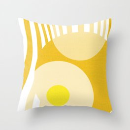 Yellow White Geometric Abstract Throw Pillow