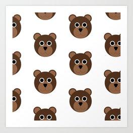 Brown Bears Pattern Art Print