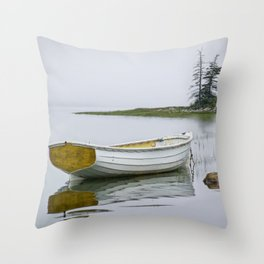White Maine Boat on a Foggy Morning Throw Pillow