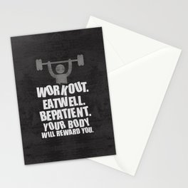 Lab No. 4 - Work Out Eat Well Be Patient Gym Motivational Quotes Poster Stationery Cards