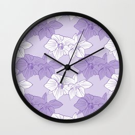 Purple Hellebores Wall Clock