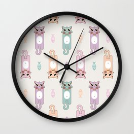 Candy Cat Pastel in Light Grey Wall Clock