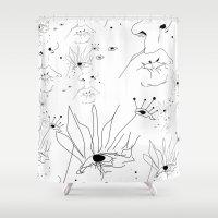 sketch Shower Curtains featuring Sketch by LEIGH ANNE BRADER
