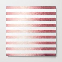 Simply Striped Rose Gold Twilight Metal Print