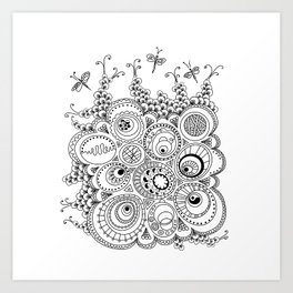 Dragonfly doodle Art Print